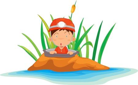 Illustration of  boy on island  Vector
