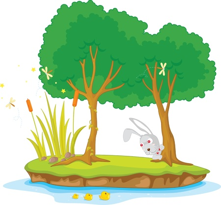 Illustration of  two tree on island  Vector