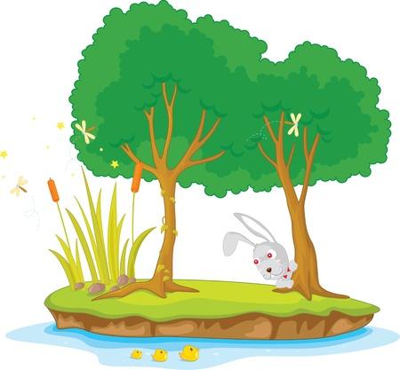 river rock: Illustrazione di due alberi sull 'isola