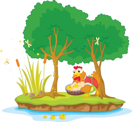 Illustration of  hen and two tree on island  Vector