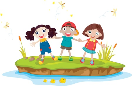 children pond: Illustration of  kids on island
