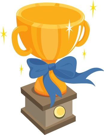 champion: illustration of trophy on white Illustration
