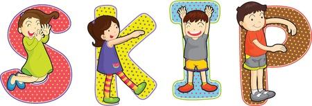 saltar: ilustración de alfabetos en blanco