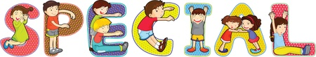 special education: illustration of cartoon alphabets on white Illustration