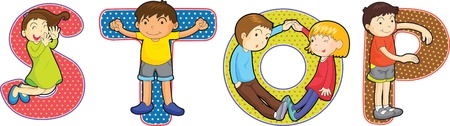 children s: illustration of cartoon alphabets on white Illustration