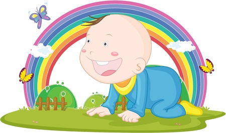 illustration of kid on rainbow background illustration