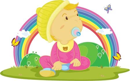 illustration of kid on rainbow background illustration