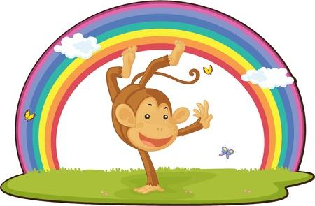 jumping monkeys: illustration of monkey on rainbow background