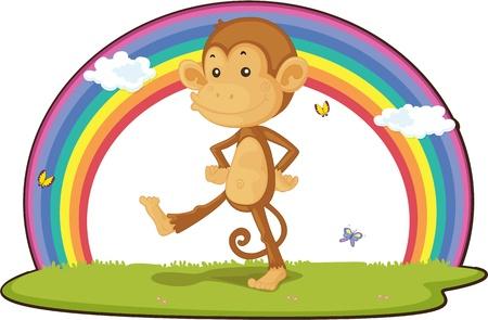 ourdoor: illustration of monkey on rainbow background