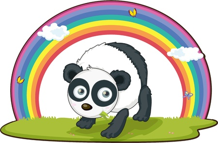 illustration of panda on rainbow background illustration