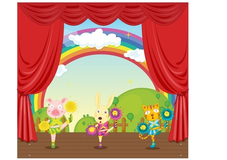 illustration of animals on stage illustration