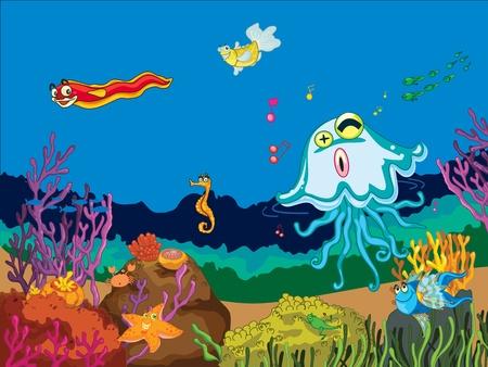 물에 바다 동물의 그림 스톡 콘텐츠