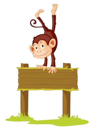 mono caricatura: Ilustración de un mono en una señal Vectores