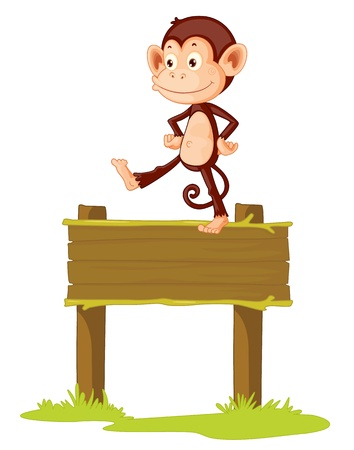 mischievous: Illustration of a monkey on a sign