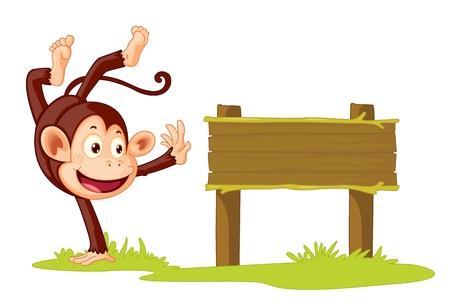 singes: Illustration d'un singe sur un signe Illustration