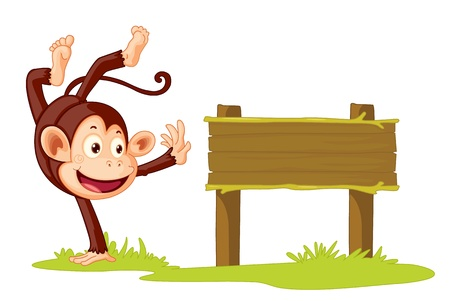 Illustration of a monkey on a sign Stock Vector - 13158311