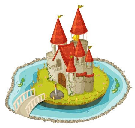 castillo medieval: Ilustración de un castillo de dibujos animados