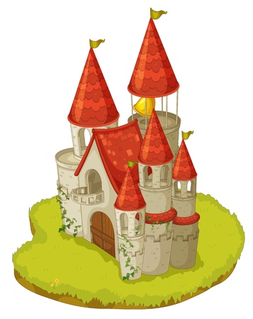 Illustration of a cartoon castle