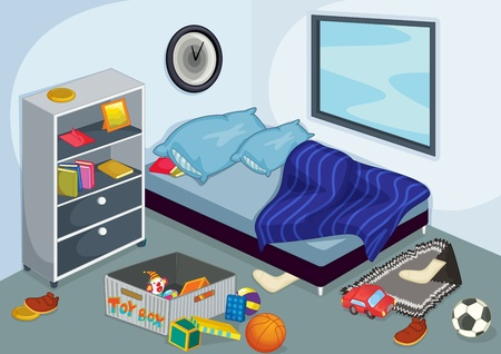 Illustration of a messy bedroom