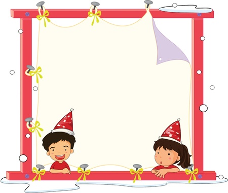 Illustration of 2 kids in front of blank banner Illustration