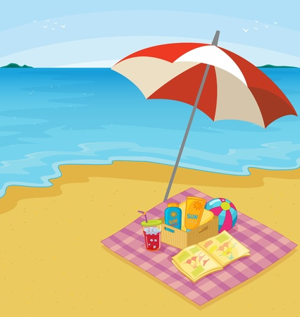 cartoon umbrella: Illustration of a blanket of items at the beach Illustration