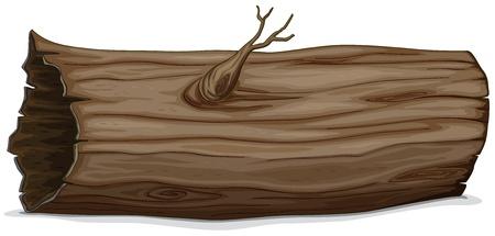 Ilustración de un tronco hueco detallada