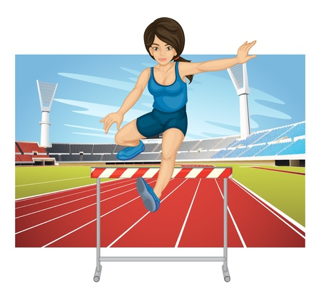 athletics track: Illustration of woman jumping hurdle