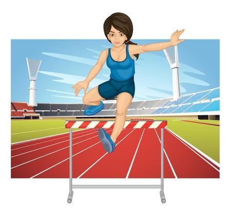 hurdles: Illustration of woman jumping hurdle