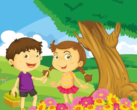 Illustration of kids in the park Stock Vector - 13158657