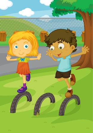 brother and sister cartoon: Illustration of kids in the park