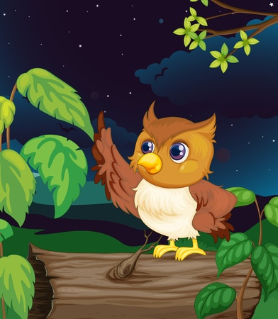 Illustration of an owl flying at night Vector