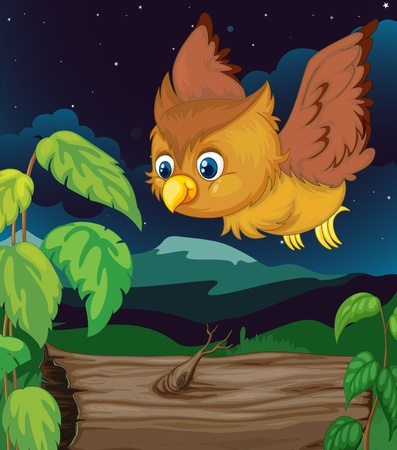 shrubs: Illustration of an owl flying at night