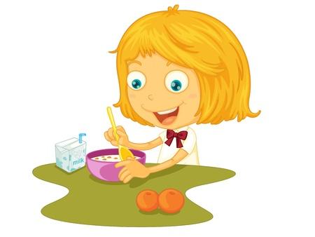 lunchen: Illustratie van kind eten aan een tafel