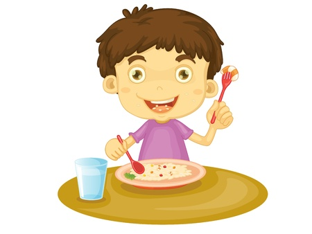 Illustration of child eating at a table Vector