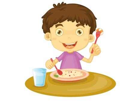 kid eat: Illustrazione del bambino di mangiare a un tavolo Vettoriali