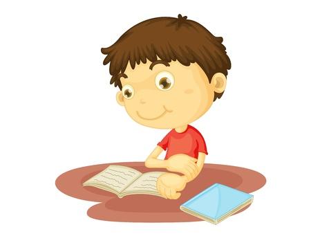 libro caricatura: Ilustración de niño leyendo un libro