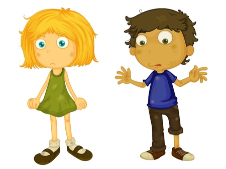 Illustration of dirty boy and girl Vector