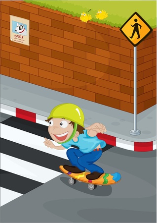 the crossing: illustration of kid near the signal