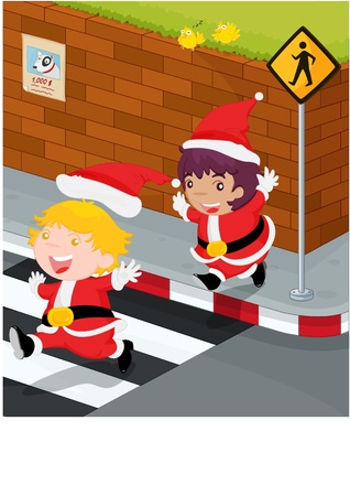 cross road: illustration of kids near the signal
