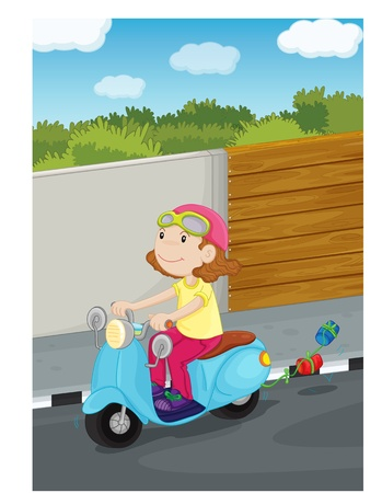 cross road: illustration of girl driving the scooter
