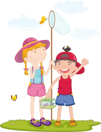 lady bird: illustration of kids on white Illustration