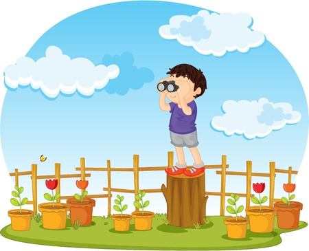 illustration of boy watching through binocular Stock Vector - 13158456