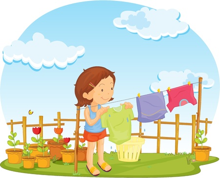 illustration of girl putting cloths for drying Vector