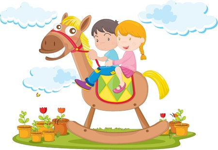 illustration of kids riding on toy camel Vector