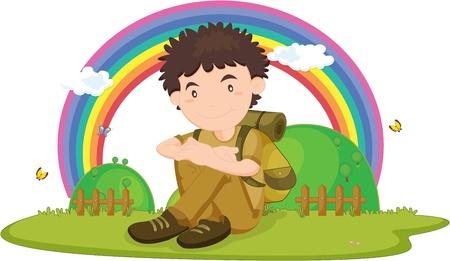 illustration of boy sitting on rainbow backgound Illustration
