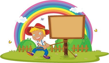 illustration of boy tying notice board Vector