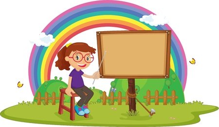 illustration of girl showing notice board Vector