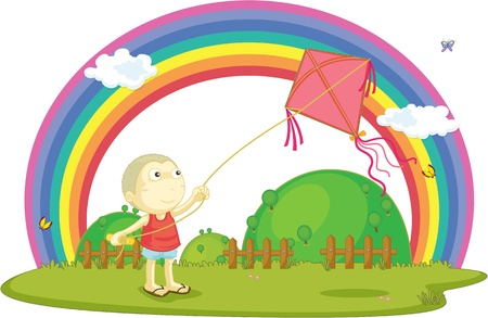 illustration of boy playing with kite Vector