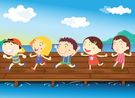 illustration d'enfants sur fond blanc Vecteurs