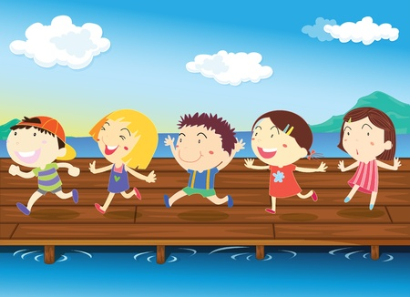 illustration of kids on white Stock Vector - 13158348